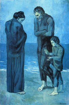 "Artwork: As an immigrant to Paris, Picasso sympathized with the city's poor and hungry people, with their struggles and their sense of isolation. Pablo Picasso, ""The Tragedy,"" 1903 Picasso Blue, Cubism Art, Picasso Paintings, Famous Artwork, Georges Braque, National Gallery Of Art, Illustration Sketches, Museum Of Modern Art, French Art"