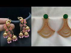Beautiful daily wear gold earrings designs/new earrings design ideas/south Indian Jewellery design Jewelry Store Design, Indian Jewellery Design, Jewelry Design Earrings, Gold Earrings Designs, Designer Earrings, Antique Jewellery Designs, Indian Jewelry Sets, Daily Wear, Design Ideas
