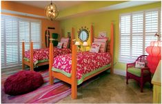 Key Interiors by Shinay: 22 Transitional modern Young girls bedroom ideas. I love the beds here.