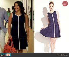 Jane's navy blue dress with white trim on Jane the Virgin.  Outfit Details: http://wornontv.net/44725/ #JanetheVirgin
