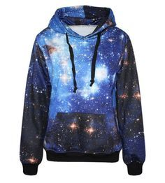 Lovelife' Blue Galaxy Print Pocket Long Sleeve Jacket Hoodies Sweatshirt: Amazon.co.uk: Clothing
