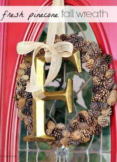 Hi Sugarplum   Simple Fall wreath using fresh cinnamon pine cones