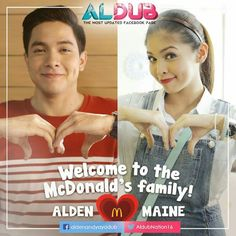 Thank you for adding and in your family! We AlDub you Maine Mendoza, Alden Richards, Welcome To The Family, Mcdonalds, Commercial, Music, Movie Posters, Eat Bulaga, Photos