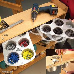 Storage: DIY Tips and Hints Install muffin tins under shelves for hardware storage.Install muffin tins under shelves for hardware storage. Garage Organization Tips, Garage Storage, Diy Storage, Storage Ideas, Storage Room, Tool Storage, Workshop Organization, Storage Hacks, Storage Bins