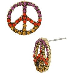 Betsey Johnson St Barts Peace Sign Stud (94 ARS) ❤ liked on Polyvore featuring jewelry, earrings, betsey johnson, multi, stud earrings, womens jewellery, pandora jewelry, gold tone earrings, round stud earrings y round earrings