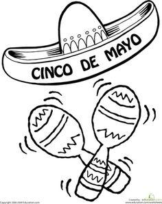 Cinco de Mayo Preschool Kindergarten First Grade Holiday Worksheets: Color the Cinco De Mayo Sombrero