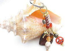 Seaglass Keychain Beach Glass Beaded Key Chain by BitsOffTheBeach