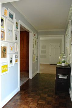 this is a GREAT post on doing wall galleries -- complete with clever ideas for what to fill those pretty frames with