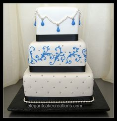 Blue and Black Wedding Cake by Elegant Cake Creations AZ, via Flickr