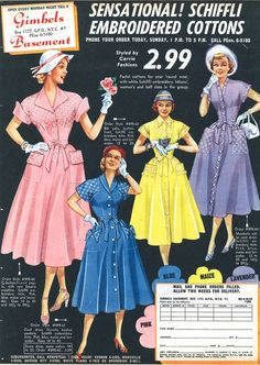 Gimbels ad, 1952 shirtdress shirtwaist early 50s print ad spring colors pink blue yellow purple button down front short sleeves full skirt hat shoes models