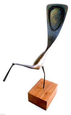ORIGINAL 1960s JACK BOYD San Diego Bronze on Walnut Modernist BIRD SCULPTURE