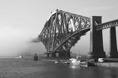 The Forth Railway Bridge in black and white. Too awesome for words.