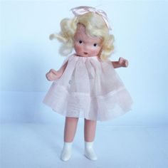 "Nancy Ann Storybook Bisque Doll 80 ""Margie Ann"" Pudgy Family Series JT Pink 