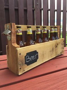 Pallet beer carrier with chalkboard detail made from a pallet