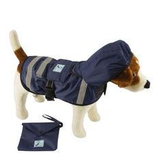 One for Pets Safety Hooded Raincoats, 18-Inch, Dark Blue *** Startling review available here  : Dog coats