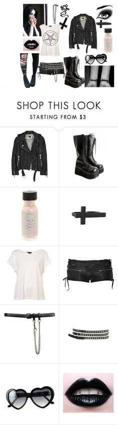 """kandi 3"" by chupacabra-queen ❤ liked on Polyvore featuring Doma, Demonia, Forever 21, Balmain, Topshop and Retrò"