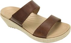 Women's Crocs A-leigh 2-strap Mini Wedge Sandal - Hazelnut/Chai Sandals