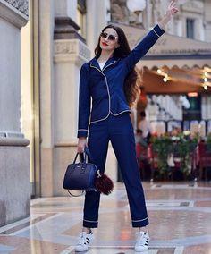 stepping out in pajamas Pajamas All Day, Pajama Outfits, Fashion Outfits, Womens Fashion, Fashion Trends, Pajama Set, Pajama Party, What To Wear, Ready To Wear