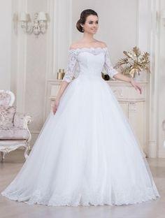 Vestido de Noiva Carla Renda Ombro a Ombro, Princesa