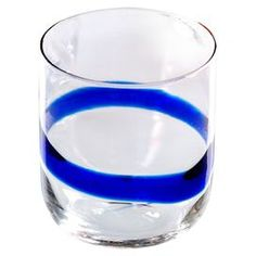 "Enjoy an after-dinner cocktail with this charming double old fashioned glass, showcasing a blue stripe accent. This product is marked for final sale.   Product: Set of 4 double old fashioned glassesConstruction Material: GlassColor: BlueDimensions: 4"" H x 3.25"" DiameterNote: This item is final sale. Returns will not be accepted."