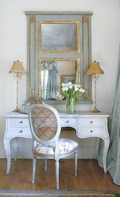 French country office decor, trumeau mirror, french mirror, Louis XVI Oval back chair