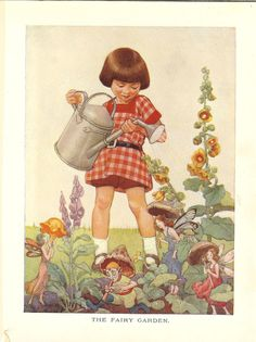 1923 The Fairy Garden Vintage Childrens Print-Little Girl Waters Flowers While…