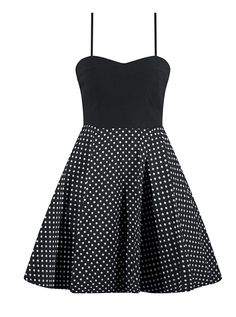 """Women's """"Polka Dot"""" Dress With Tooling by Double Trouble Apparel (Black)"""