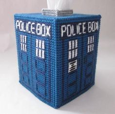 This beautiful tardis tissue box is perfect for any Dr. Fit a boutique tissue box and is sure to be a huge hit. Made with plastic canvas this item even ships with the first tissue box inside. Plastic Canvas Tissue Boxes, Plastic Canvas Crafts, Plastic Canvas Patterns, Tardis, Doctor Who Craft, Kleenex Box, Police Box, Geek Crafts, Tissue Box Covers