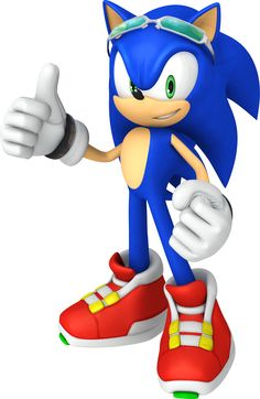3D Sonic the Hedgehog 'Free Rider' thumbs up..