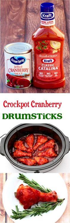Crockpot Cranberry Chicken Drumsticks Recipe!  Just 3 ingredients!