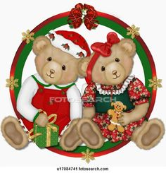 Clipart of Christmas teddy bear boy and girl