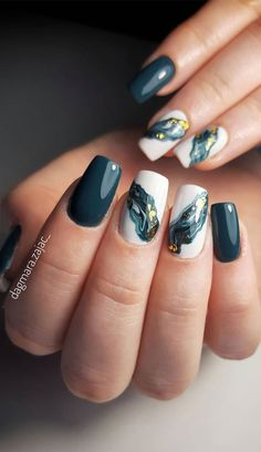 14. Deep Green Marble Nails Another beautiful marble nail idea. This one is different to the classic marble. Instead of white and grey, this... Green Nail Designs, Marble Nail Designs, Cute Nail Art Designs, New Nail Designs, Marble Acrylic Nails, Best Acrylic Nails, How To Marble Nails, Marbled Nails, Green Nail Art