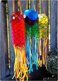 koinobori wind sock bottle from repurposed drink bottles