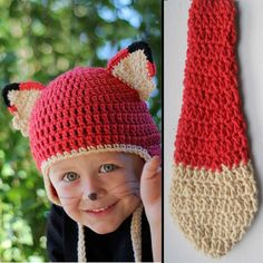 Items similar to Kids Red Fox Halloween Costume Crochet Earflap Hat and Tail Set - Childrens Accessories by Julian Bean on Etsy Kids Fox Costume, Fox Halloween Costume, Harry Potter Halloween Costumes, Halloween Crochet, Halloween Ideas, Crochet Fox, Crochet Hats, Knitted Hats, Red Fox