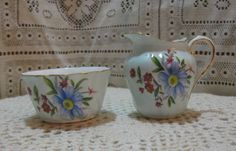 Paragon-Fine-Bone-China-Mini-Creamer-Open-Sugar-Set-Blue-Floral-Gold-Vintage