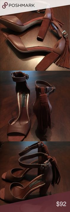 """WHITE HOUSE BLACK MARKET ELLY BROWN LEATHER SHOES White House Black Market ELLY brown leather open toe shoes with 4"""" chunky suede heels, ankle strap with hanging suede tassel, size 7M, worn once, great condition, very chic. White House Black Market Shoes Heels"""