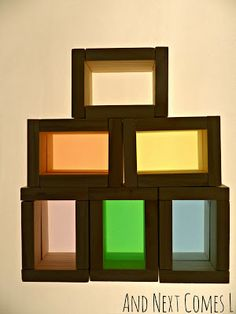 DIY Color blocks on the light table from And Next Comes L