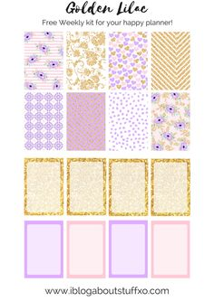 Golden Lilac, Free Happy planner weekly kit! | i blog about stuff xo