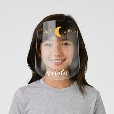 Cute Celestial Moon and Stars Space Crown Kids' Face Shield - tap/click to personalize and buy #KidsFaceShield  #pretty #cute #girl #girly #moon Crown For Kids, Pretty Kids, Clear Face, Plastic Animals, Perfect Match, Going Out, Cool Designs, Girly, Celestial