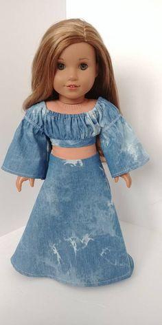 Sparkle Girlz Blue Denim Split Front Pink Trim Capris Doll REGULAR PETITE