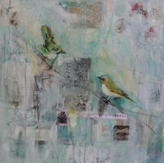 In The Cherry Blossom Tree - Katherine McClure. 18 x 18 inches. Acrylic, vintage paper, and resin on gallery wrapped canvas. $550 #birds #mixedmedia #decor