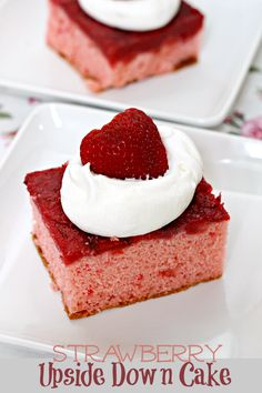 Strawberry Upside Down Cake ~ A Layer of Fresh Strawberries Tops off this Easy Cake! via www.julieseatsandtreats.com