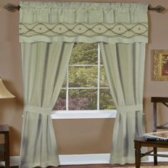 "Sage.  Faux Silk Five Piece ""Window In A Bag"" Set. Faux silk sophisticated look with heavy medallion embroidery and triple pleating on the valance. Requires just one standard or decorative rod. Set Includes: 2 Panels 1 Attached Decorative Valance 2 Tiebacks"