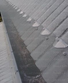 Steep pitch roof now protected with leaf guard - Metal gutter guard Roof Design, House Design, Leaf Guard, Steel Roofing, Roofing Shingles, Tin Roofing, Garage Roof, Fibreglass Roof, Retractable Pergola