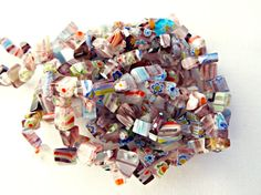Millefiori Beads, Purple Millefiori, Chip Beads, Purple Chips, Millefiori Chips, 34 Inch Strand, Glass Beads, UK Seller, Jewelry Supplies