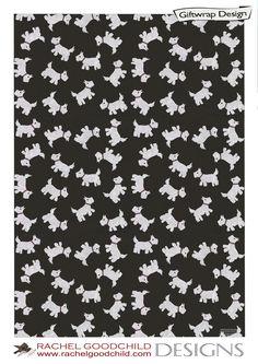White Scottie Dog design by Rachel Goodchild Designs