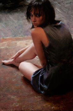"""Attraction"" - Casey Baugh {contemporary artist figurative female woman portrait oil painting}"