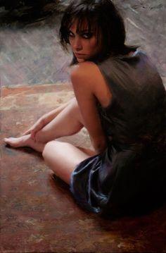 """Attraction"" - Casey Baugh {contemporary artist figurative female woman portrait oil painting}"