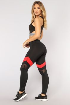 Paulina Active Leggings - Black/Red – Fashion Nova Source by khaukananimufamadi Activewear Red And Black Leggings, Black Workout Leggings, Fit Girl Motivation, Red Fashion, Workout Wear, Sportswear, Active Wear, Street Wear, Clothes For Women