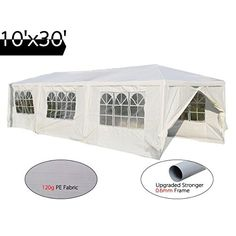 Quictent® Heavy Duty Gazebo Wedding Party Tent BBQ Pavilion Canopy with Side Walls (10'x30' white 8walls) >>> FIND OUT MORE INFO @: http://www.best-outdoorgear.com/quictent-heavy-duty-gazebo-wedding-party-tent-bbq-pavilion-canopy-with-side-walls-10x30-white-8walls/
